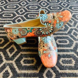 Retro Floral Boho Colorful Clogs Shoes Loafers EUC